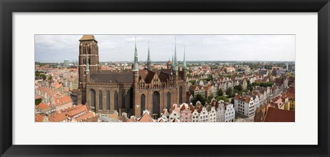 Framed Cathedral in a city, St. Mary's Church, Gdansk, Pomeranian Voivodeship, Poland Print