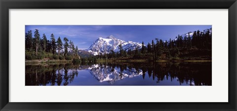 Framed Mt Shuksan Reflection at Picture Lake, North Cascades National Park Print