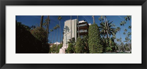 Framed Trees in front of a hotel, Beverly Hills Hotel, Beverly Hills, Los Angeles County, California, USA Print