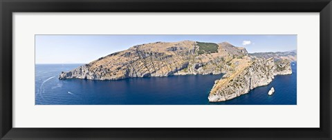 Framed Island in the sea, Punta Campanella, Bay of Ieranto, Capri, Naples, Campania, Italy Print