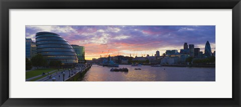 Framed City hall with office buildings at sunset, Thames River, London, England Print