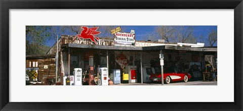 Framed Store with a gas station on the roadside, Route 66, Hackberry, Arizona Print