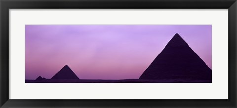 Framed Silhouette of pyramids at dusk, Giza, Egypt Print