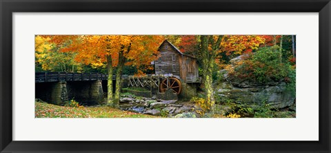 Framed Glade Creek Grist Mill, Babcock State Park, West Virginia (bright leaves) Print