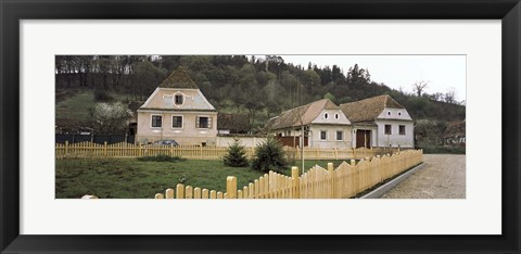 Framed Houses in a village, Biertan, Transylvania, Mures County, Romania Print