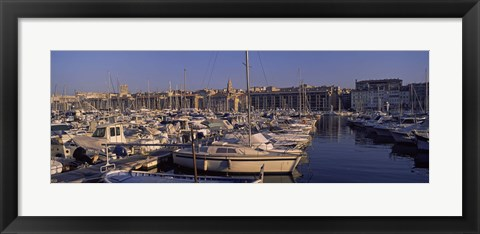 Framed Boats docked at a harbor, Marseille, Bouches-Du-Rhone, Provence-Alpes-Cote d'Azur, France Print