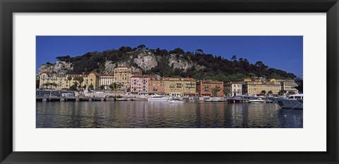 Framed Boats docked at a port, English Promenade, Nice, Alpes-Maritimes, Provence-Alpes-Cote d'Azur, France Print