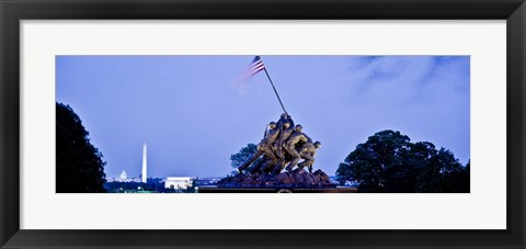 Framed Iwo Jima Memorial at dusk with Washington Monument in the background, Arlington National Cemetery, Arlington, Virginia, USA Print