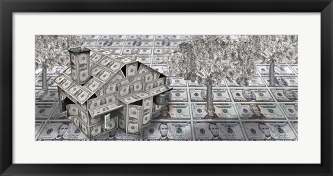 Framed Dollar house with money tree Print