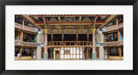 Framed Interiors of a stage theater, Globe Theatre, London, England Print