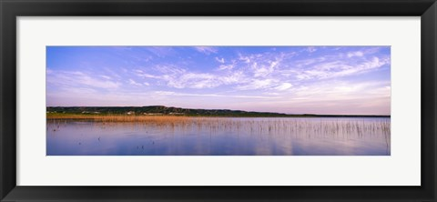 Framed Reflection of clouds in a lake, Elephant Butte Lake, New Mexico, USA Print