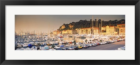 Framed Port of Nice lined by old houses and filled with new yachts, Nice, Alpes-Maritimes, Provence-Alpes-Cote d'Azur, France Print
