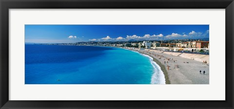 Framed Tourists on the beach, Nice, Promenade Des Anglais, Provence-Alpes-Cote d'Azur, France Print