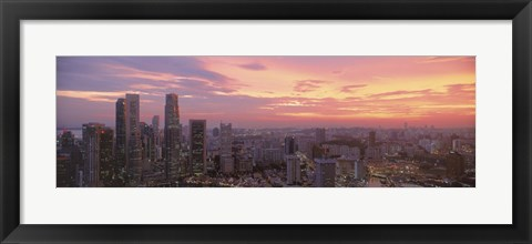 Framed High angle view of a city at sunset, Singapore City, Singapore Print