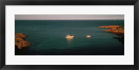 Framed Boats in the sea, Esterel Massif, French Riviera, Provence-Alpes-Cote d'Azur, France Print