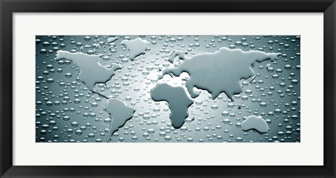 Framed Water drops forming continents (black and white) Print