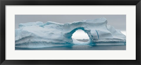 Framed Blue iceberg with hole, Antarctica Print