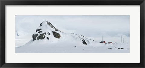 Framed Snow covered mountain, Half Moon Island Print