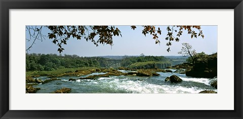 Framed Looking over the top of the Victoria Falls towards the Victoria Falls bridge, Zambia Print