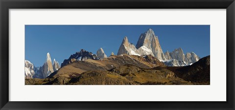 Framed Low angle view of mountains, Mt Fitzroy, Cerro Torre, Argentine Glaciers National Park, Patagonia, Argentina Print