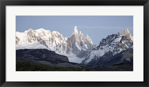 Framed Snowcapped mountain range, Mt Fitzroy, Argentine Glaciers National Park, Santa Cruz Province, Patagonia, Argentina Print
