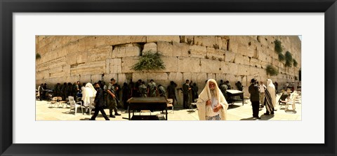 Framed People praying in front of the Wailing Wall, Jerusalem, Israel Print