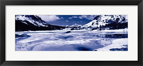 Framed Lake and snowcapped mountains, Tioga Lake, Inyo National Forest, Eastern Sierra, Californian Sierra Nevada, California Print