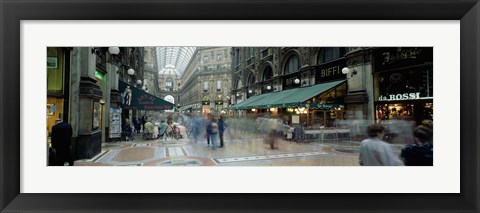 Framed Large group of people on the street, Milan, Italy Print