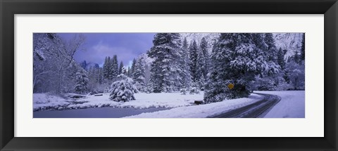 Framed Winter Road, Yosemite Park, California, USA Print