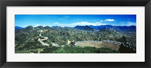 Framed Fortified wall on a mountain, Great Wall Of China, Beijing, China Print