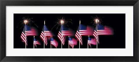 Framed US Flags And Fireworks Print