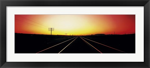 Framed Santa Fe Railroad Tracks, Daggett, California, USA Print