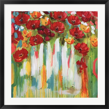 Framed Poppies Glowing Print