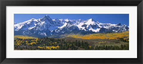 Framed Mountains covered in snow, Sneffels Range, Colorado, USA Print