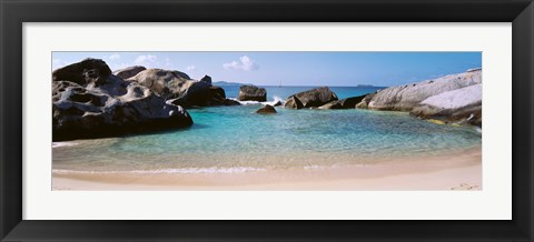 Framed British Virgin Islands, Virgin Gorda, The Baths, Rock formation in the sea Print