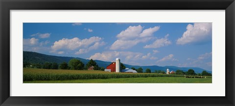 Framed Cultivated field in front of a barn, Kishacoquillas Valley, Pennsylvania, USA Print
