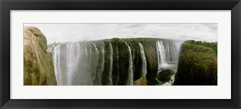 Framed Water falling into a river, Victoria Falls, Zimbabwe, Africa Print