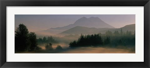 Framed Sunrise, Mount Rainier Mount Rainier National Park, Washington State, USA Print