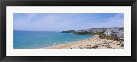 Framed High angle view of the beach, Albufeira, Faro, Algarve, Portugal Print