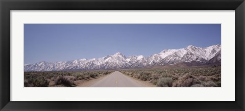 Framed USA, California, Sierra Nevada, Bushes on both sides of a road Print
