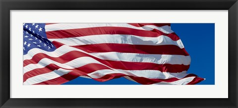 Framed Close-up of an American flag fluttering, USA Print