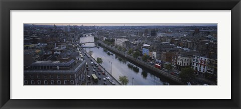 Framed High angle view of a city, Dublin, Leinster Province, Republic of Ireland Print