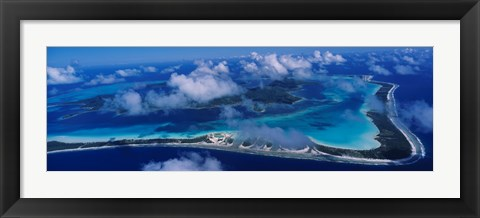 Framed Aerial View Of An Island, Bora Bora, French Polynesia Print