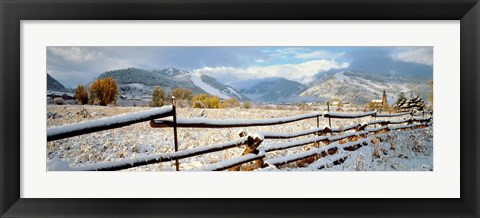 Framed Wooden fence covered with snow at the countryside, Colorado, USA Print