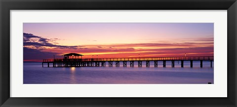 Framed Sunset Mobile Pier AL USA Print