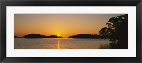 Framed Refection of sun in water, Everglades National Park, Miami, Florida, USA Print
