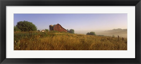Framed Barn in a field, Iowa County, near Dodgeville, Wisconsin, USA Print