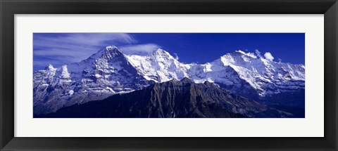 Framed Swiss Mountains, Berner, Oberland, Switzerland Print