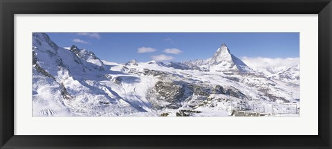 Framed Snow Covered Slopes, Matterhorn Switzerland Print