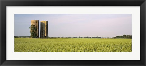Framed USA, Arkansas, View of grain silos in a field Print